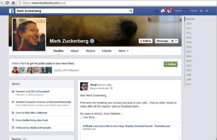 Θύμα hacking ο Μαρκ Ζούκερμπεργκ