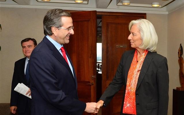 Για τη βιωσιμότητα του ελληνικού χρέους συζήτησαν Σαμαράς – Λαγκάρντ