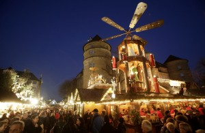 People visit a traditional Christmas market in the city centre of Stuttgart