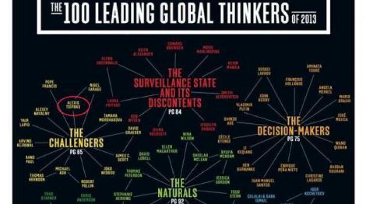 Στους 100 «κορυφαίους παγκόσμιους διανοητές» του Foreign Policy ο Τσίπρας