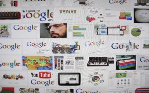 Photo illustration of the results of a Google Image search shown on a monitor in Encinitas
