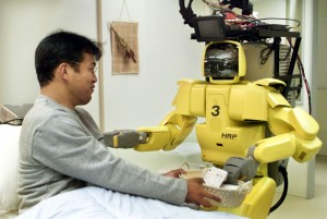 A humanoid robot developed for use in the medical field is shown to the media at a demonstration in ..