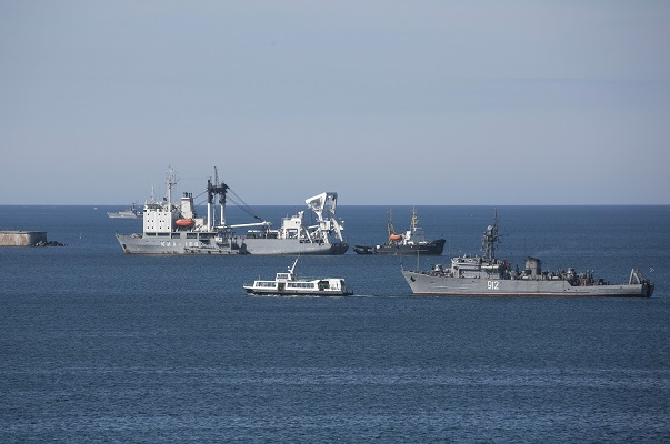 Russian Navy ships block the entrance to the Crimean port of Sevastopol