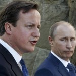 Britain's Prime Minister Cameron and Russian President Putin speak to media after their meeting at the Bocharov Ruchei state residence in Sochi