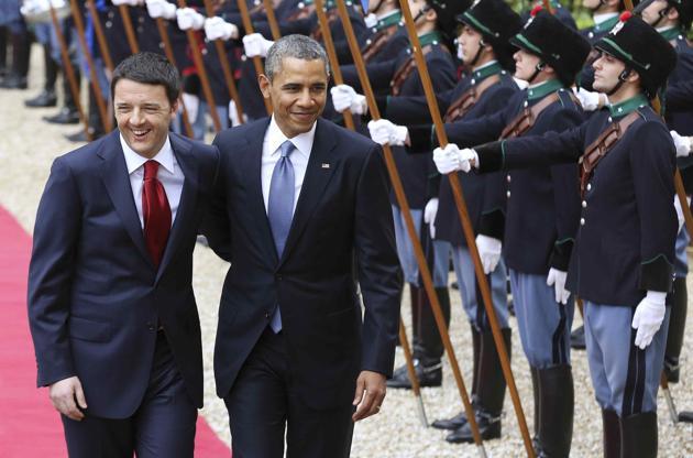 Με το σλόγκαν «yes, we can» υποδέχθηκε ο Ιταλός πρωθυπουργός  τον Ομπάμα