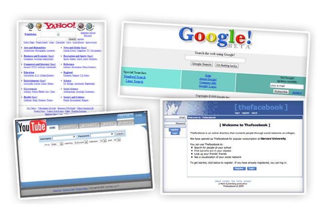 Πώς ήταν οι πιο δημοφιλείς ιστοσελίδες όταν κυκλοφόρησαν