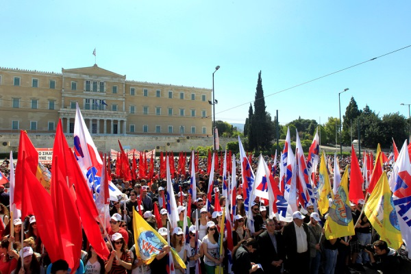 Φωτογραφίες: Το συλλαλητήριο για την Εργατική Πρωτομαγιά στην Αθήνα