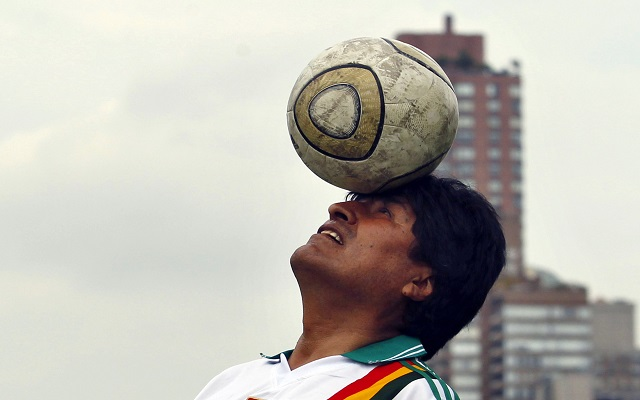 Bolivia's President Morales tries to control the ball during a friendly soccer match between his team and top officials, staff members and ambassadors to the UN for ending Violence Against Women, in New York