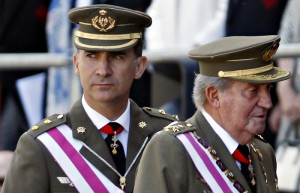 Spain's Crown Prince Felipe and King Juan Carlos attend a ceremony at the Monastery of San Lorenzo de El Escorial outside Madrid