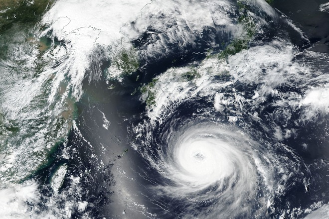 epa06961403 A handout photo made available by NASA shows an image acquired by the Visible Infrared Imaging Radiometer Suite (VIIRS) on board the joint NASA/NOAA Suomi National Polar-orbiting Partnership (SNPP) satellite of Typhoon Soulik approaching the Korean Peninsula, 20 August 2018 (issued 21 August 2018). According to media reports, Typhoon Soulik will make a direct pass over the Korean Peninsula on the night of 22 August 2018 as it is expected to strengthen to Category 3.  EPA/NASA HANDOUT  HANDOUT EDITORIAL USE ONLY/NO SALES