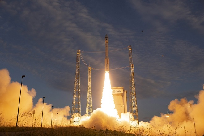 epa06965311 A handout photo made available by the European Space Agency (ESA) shows ESA's Earth Explorer Aeolus satellite lifted off on a Vega rocket off the launch pad at the spaceport in Kourou, French Guiana, 22 August 2018. Aeolus carries the Atmospheric Laser Doppler Instrument (Aladin for short) which includes revolutionary laser technology to generate pulses of ultraviolet light that are beamed down into the atmosphere to profile the world's winds. By profiling the lowermost 30 km of the atmosphere, Aeolus will give scientists global information on the speed of the wind in near-real time. This new mission will also provide insight into how the wind influences the exchange of heat and moisture between Earth's surface and the atmosphere. As well as advancing science and improving weather forecasts, data from Aeolus will be used in air-quality models to improve forecasts of dust and other airborne particles that affect public health.  EPA/Stephane Corvaja / ESA HANDOUT  HANDOUT EDITORIAL USE ONLY/NO SALES