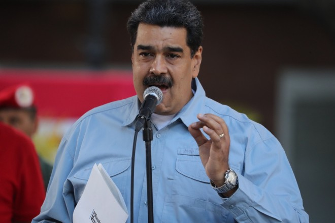 epa07351370 Venezuelan President Nicolas Maduro speaks during an event at Bolivar Square, in Caracas, Venezuela, 07 February 2019. Maduro thanked the marches that invites people to sign a letter to the United States rejecting their interference in Venezuela.  EPA/MIGUEL GUTIERREZ