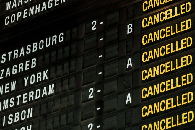 epa07365997 The flight departure board shows cancelled flights during the national strike at Zaventem international airport in Zaventem near Brussels, Belgium, 13 February 2019. Belgian airspace is closed since February 12, 10pm and will remain closed for 24 hours. All flights (departure and arrival) are cancelled.  EPA/STEPHANIE LECOCQ