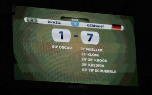 A general view of the scoreboard shows the results at the end of the 2014 World Cup semi-finals between Brazil and Germany at the Mineirao stadium in Belo Horizonte