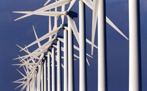 Power-generating windmill turbines are seen near Port Saint Louis du Rhone