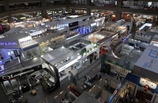 General view of booths at the 2013 Computex exhibition in Taipei World Trade Center
