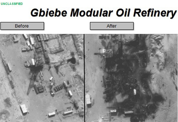 Before and after aerial pictures released by the U.S. Department of Defense show damage to the Gbiebe Modular Oil Refinery in Syria