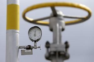 A pressure gauge is seen at the gas cavern storage in Haje