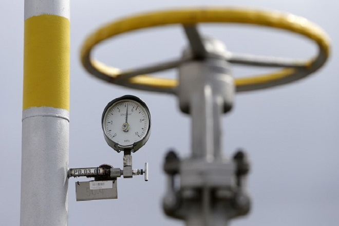 A pressure gauge is seen at the gas cavern storage in Haje