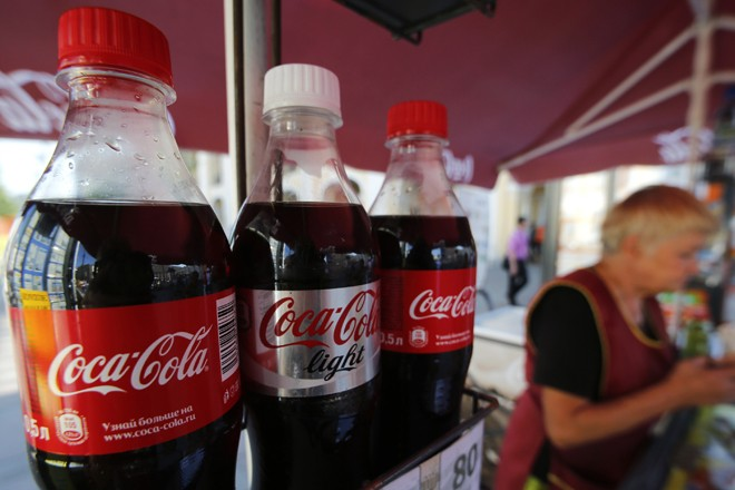 Coca-Cola bottles are seen on sale in central St. Petersburg