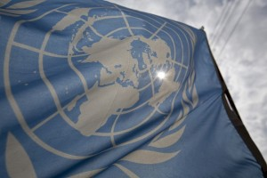 A United Nations flag is seen in Pyla in the Larnaca District of Cyprus