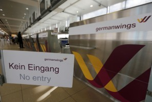 'No Entry' sign is displayed in front of a Germanwings counter at Cologne-Bonn airport