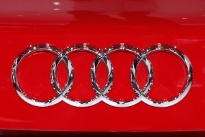 An Audi logo is seen on a car displayed on media day at the Paris Mondial de l'Automobile