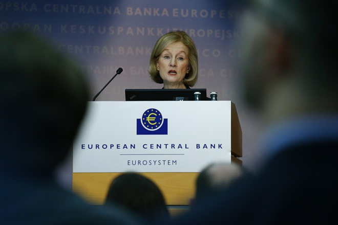 Chair of the Supervisory Board of the single supervisory mechanism Nouy addresses news conference at ECB in Frankfurt