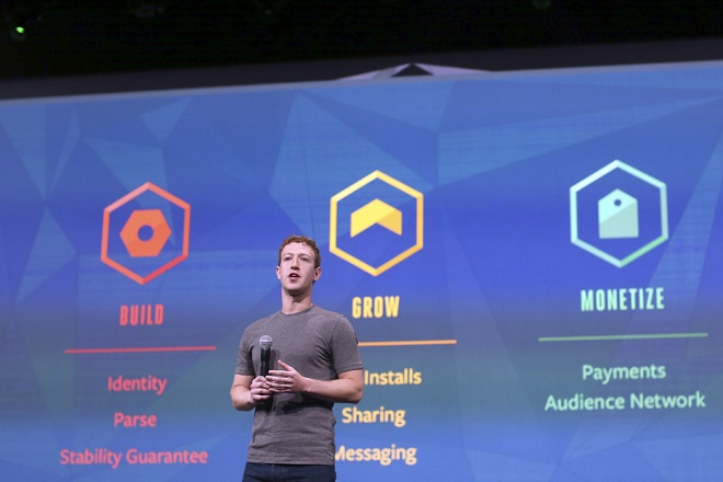 Mark Zuckerberg speaks during his keynote address at Facebook's f8 developers conference in San Francisco