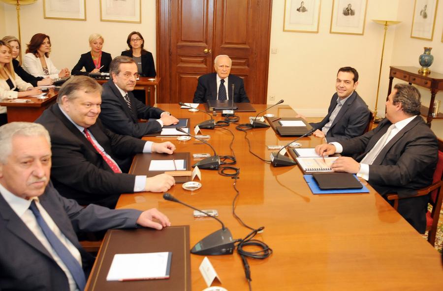 Σαμαράς, Τσίπρας και Κουβέλης στον Κάρολο Παπούλια για χρέος και ΑΟΖ