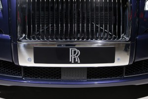 A Rolls-Royce logo is seen on a car displayed on media day at the Paris Mondial de l'Automobile