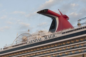 The Carnival Magic cruise ship is seen after reaching port in Galveston, Texas