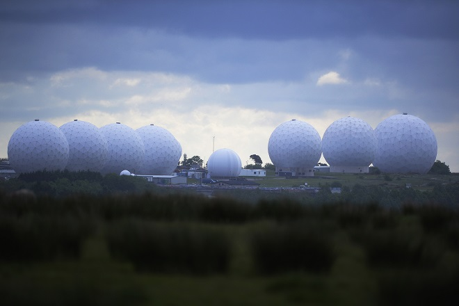RAF Menwith Hill base is pictured near Harrogate