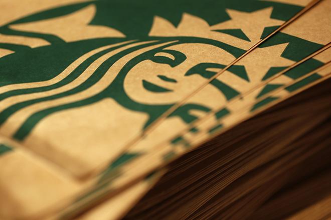Branded packaging is seen in Starbucks' Vigo Street branch in Mayfair, central London