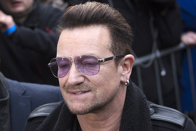 U2 lead singer Bono arrives for the recording of the Band Aid 30 charity single in west London