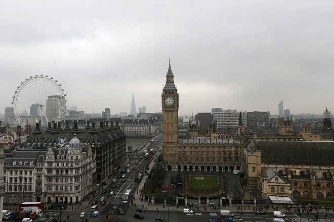 The Houses of Parliament and the London Eye are seen in central London