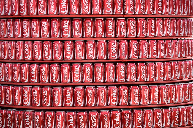 Coca Cola cans are seen at a concession inside the Dunas arena soccer stadium in Natal