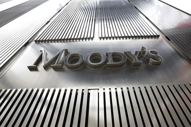 A Moody's sign is displayed on 7 World Trade Center, the company's corporate headquarters in New York