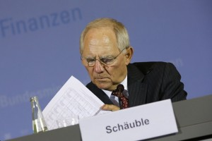 German Finance Minister Schaeuble attends a news conference at the finance ministry in Berlin