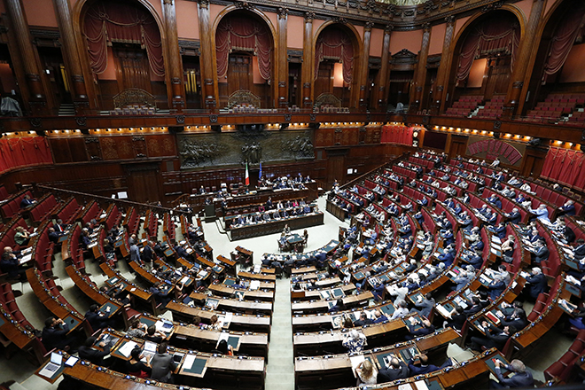 A general view of the Italian Parliament as Prime Minister Matteo Renzi delivers his speech ahead of Italy's European Union presidency in Rome