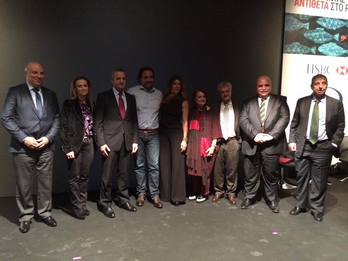 H διευθύντρια του Fortune Αναστασία Παρετζόγλου με τον Πάνο Μιχαλόπουλο και τους ομιλητές.