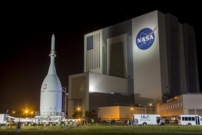 The Orion capsule is moved at Kennedy Space Center in Florida