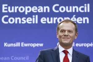 Former Polish PM Tusk attends a ceremony in Brussels