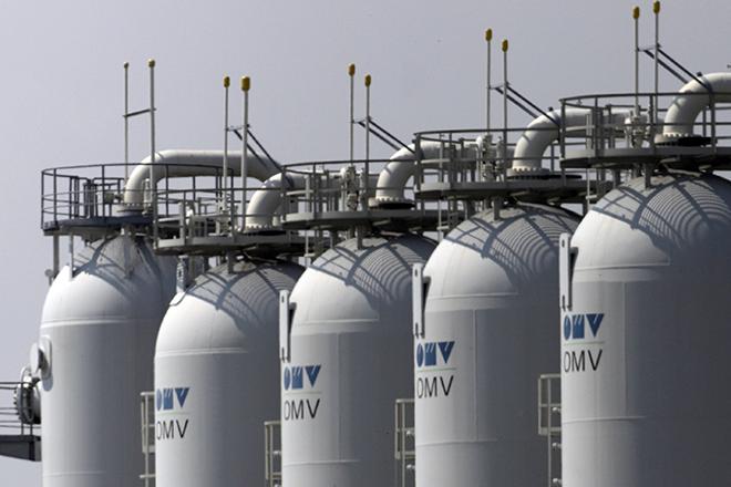 Gas tanks are pictured at Austria's largest natural gas import and distribution station in Baumgarte