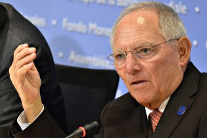 Germany's Finance Minister Wolfgang Schauble briefs press at IMF and World Bank Fall Meetings in Washington
