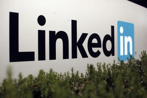 The logo for LinkedIn Corporation, a social networking networking website for people in professional occupations, is shown in Mountain View