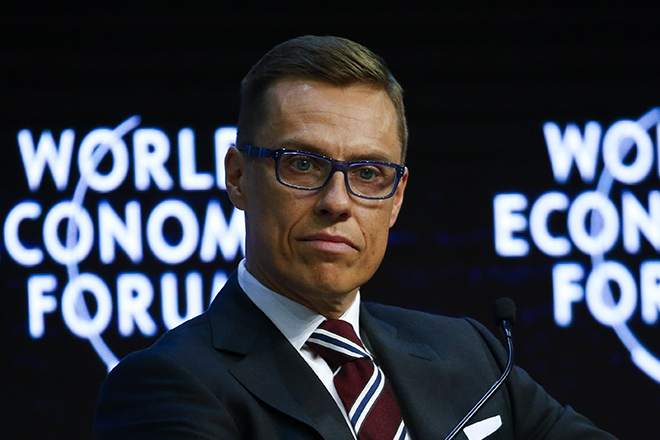 Finland Prime Minister Stubb listens during the Europe's Twin Challenges: Growth and Stability event in the Swiss mountain resort of Davos