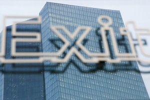 A sign reading 'Exit' stands in front of the headquarters of the European Central Bank (ECB) in Frankfurt