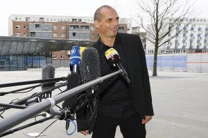 Greek Finance Minister Varoufakis speaks to media outside European Central Bank in Frankfurt