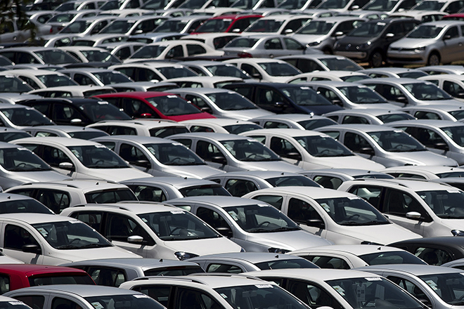New cars are parked at a stock area of the Volkswagen German automaker plant in Sao Jose dos Campos